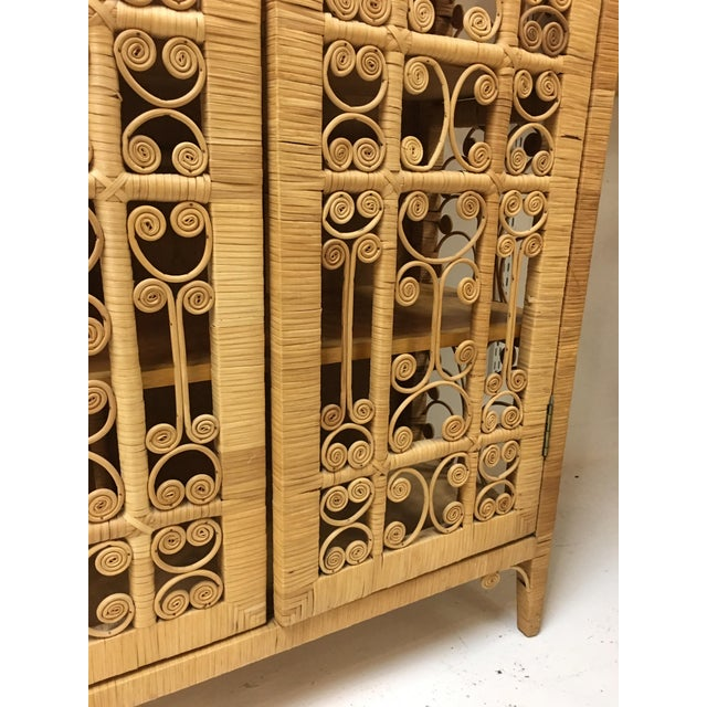 Bohemian Rattan Armoire Cabinet - Image 6 of 10