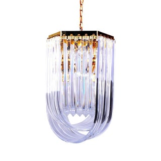 Lucite Ribbon Chandelier With Canopy For Sale