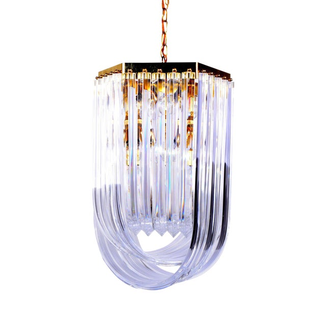 Lucite Ribbon Chandelier with Canopy - Image 1 of 10