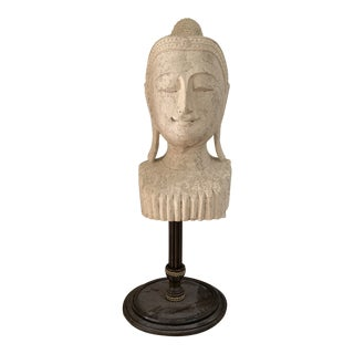 Mid 20th Century Calming Tibetan Stone Bust on Bronze Stand For Sale