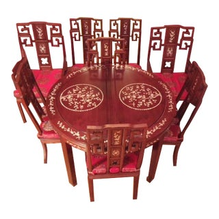 Chinese Ming Style Rosewood Dining Table & 8 Chairs