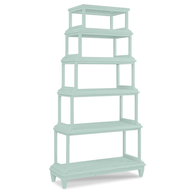 This is a made to order item with a 6-8 week leadtime. The color is Benjamin Moore Palladian Blue.A stately etagere of 5...