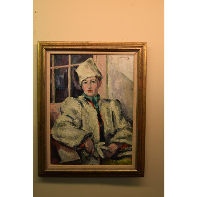 """""""White Russian"""" Signed Frederick Buchholz Impressionist Portrait Painting For Sale In New York - Image 6 of 6"""