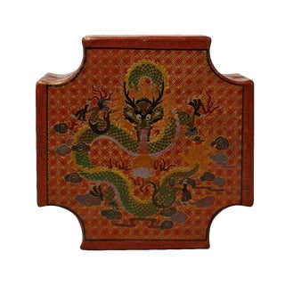 Chinese Orange Red Dragons Graphic Box For Sale