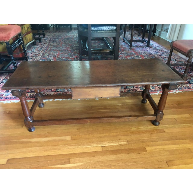 Wood Antique French Henry II Style Walnut Low Boy Coffee Table For Sale - Image 7 of 13