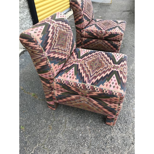 Mid Century Century Furniture Parsons Style Slipper Chairs- A Pair For Sale - Image 11 of 13