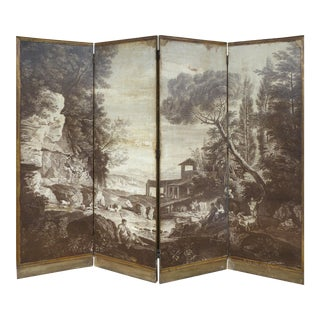 Maison Jansen Piranesi Four Panel Wallpaper Screen With Pastoral Scene C1940