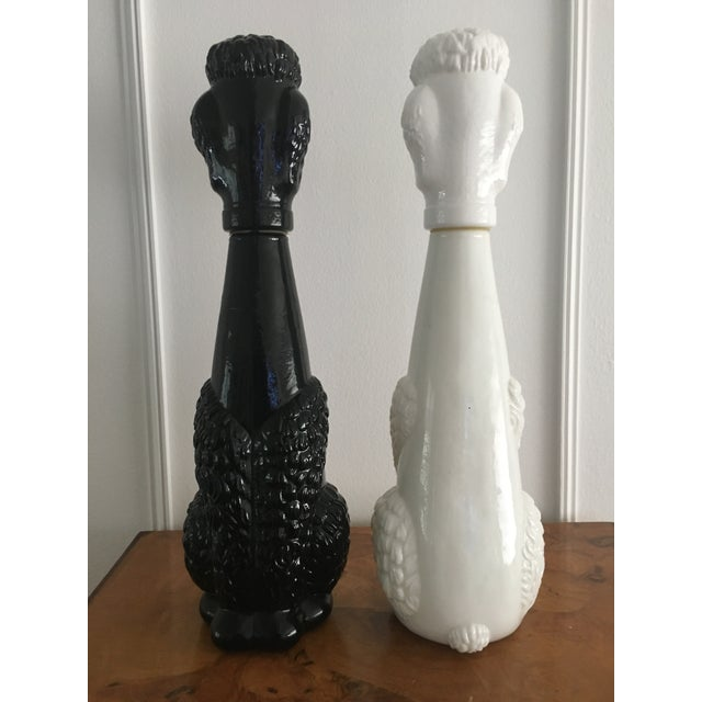 Glass Vintage Black and White Milk Glass Poodle Statues/ Decanters - a Pair For Sale - Image 7 of 8