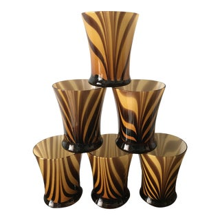 Murano Style Blown Glass Tumbler Glasses - Set of 6 For Sale