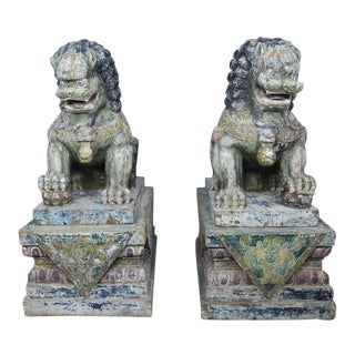 Monumental Chinese Wood Painted Foo Dogs, Pair For Sale