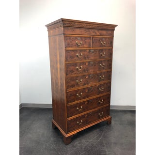 Antique English Yew Wood Chippendale Tall Chest of Drawers Preview