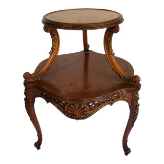 French Mahogany Hand Carved Floral Inlay Table - Two Tier For Sale