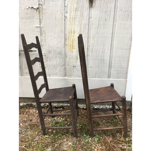 Country Mismatched Ladder Back Country Chairs - Set of 4 For Sale - Image 3 of 12