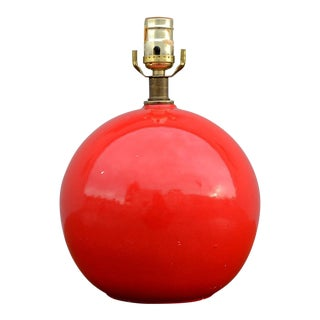 Vintage Modern Spherical Red Ceramic Table Lamp For Sale