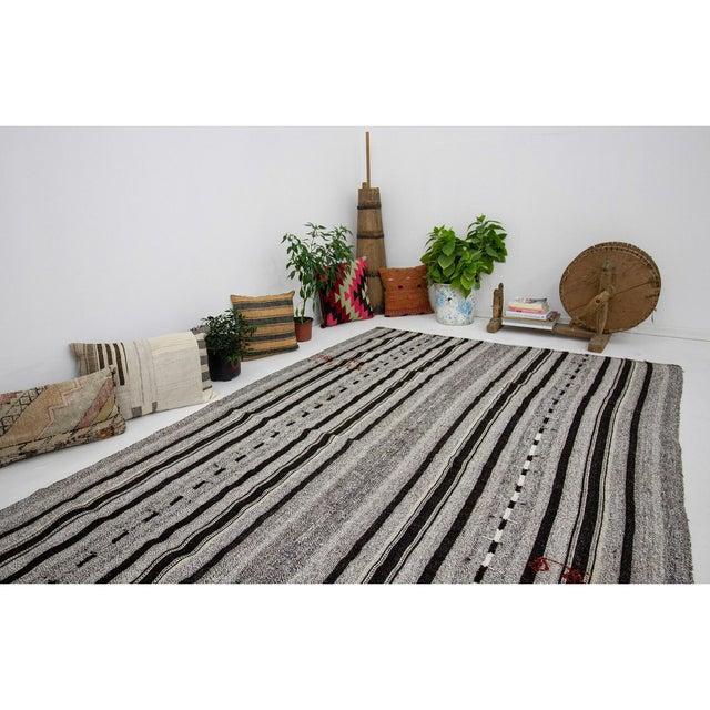 1960s Vintage Gray & Black Striped Kilim Rug- 5′9″ × 9′4″ For Sale In Los Angeles - Image 6 of 7