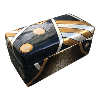 Ceramic Black and Gold Jewelry Box For Sale