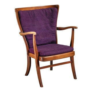 Elegant Danish Wingback Armchair with Warm Deep Purple Cushions For Sale