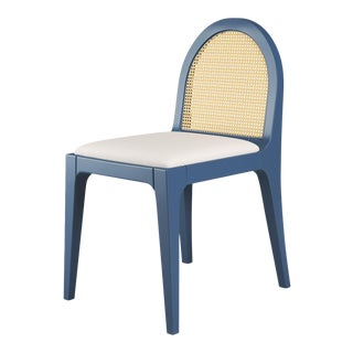 Juliette Dining Chair - Newburyport Blue, Optic White Linen For Sale