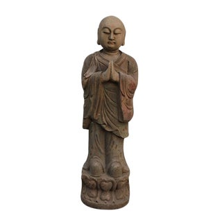 Late 19th Century Asian Antique Praying Buddhist Monk Pine Statue