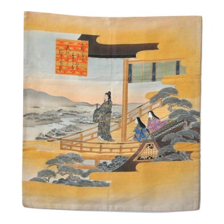 Japanese Shogun and Concubines Scenery Poetry Tapestry For Sale