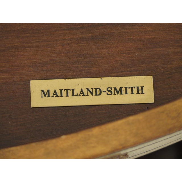 1990s Art Deco Maitland Smith Bow Front Leather Bachelor Chest For Sale - Image 12 of 13