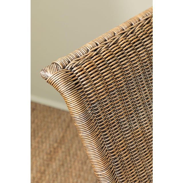 Wood Mid-Century Italian Rattan Lounge Chair For Sale - Image 7 of 9