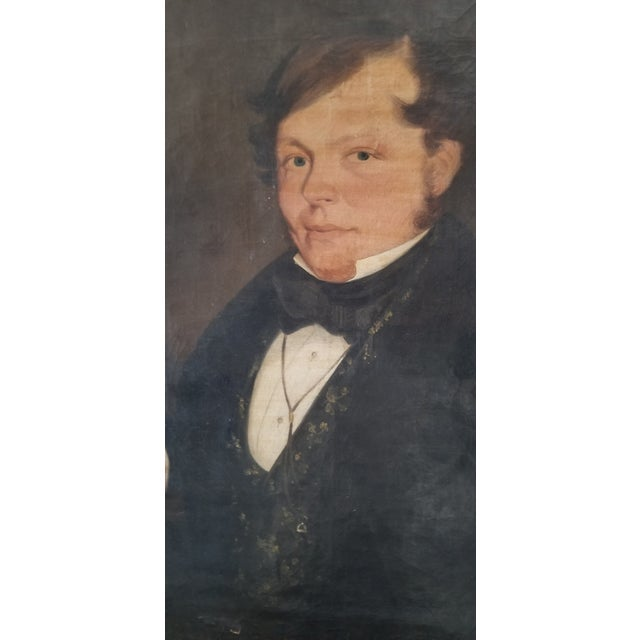An early oil on canvas portrait of an French Gentleman. Painted really well. Unsigned. Original stretcher.