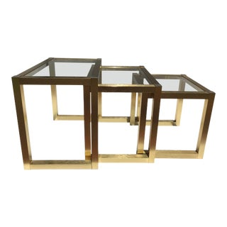 Graduating Brushed Brass and Glass Nesting Tables - Set of 3 For Sale