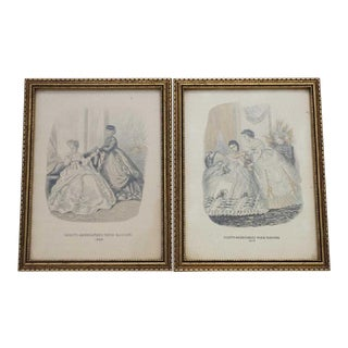 Mid 19th Century Antique Godey's Fashion Prints - A Pair For Sale