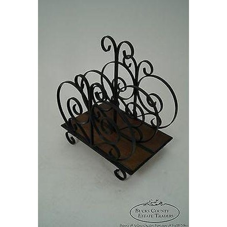 Spanish Custom Ornate Scrolled Wrought Iron Spanish Style Magazine Stand For Sale - Image 3 of 13