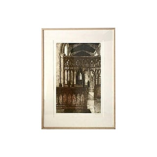 Original Vintage Valerie Thornton Etching of a Gothic Church Interior For Sale