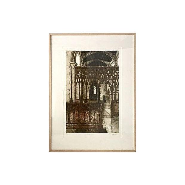 Original Vintage Valerie Thornton Etching of a Gothic Church Interior For Sale