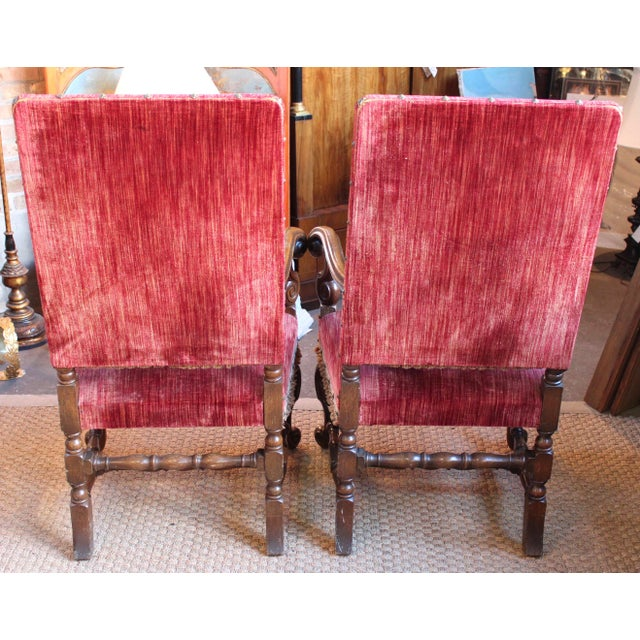 Louis XIV Style Carved Oak Arm Chairs - A Pair For Sale - Image 4 of 9