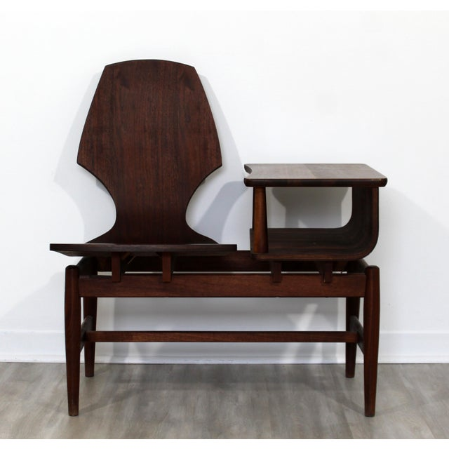 Mid Century Modern Plycraft Bentwood Telephone Gossip Table & Side Chair For Sale - Image 11 of 11