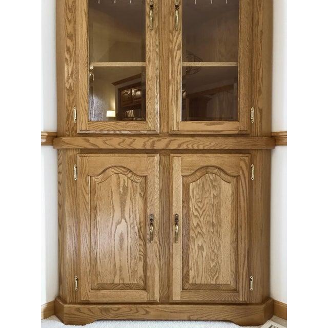 1990s Solid Oak Corner Display Cabinet For Sale - Image 5 of 12
