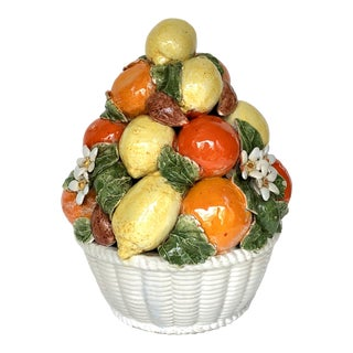 Majolica Lemon & Orange Basket For Sale