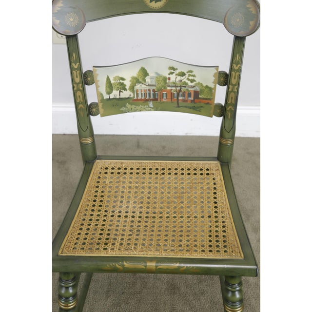 """1970s Hitchcock Green Painted """"Thomas Jefferson's Monticello"""" Cane Seat Side Chair (B) For Sale - Image 5 of 13"""