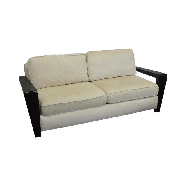 Thayer Coggin Modern Design Black & White Sofa For Sale