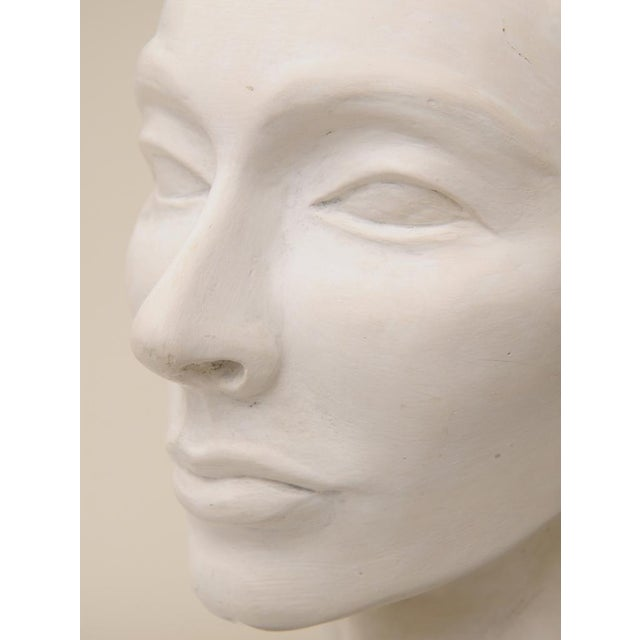 White Classical italian Plaster of Paris Head Sculpture For Sale - Image 8 of 9