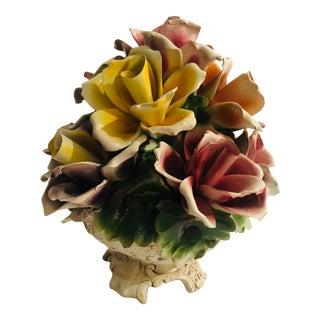 Mid Century Modern Art Italian Porcelain Capodimonte Flower Basket For Sale
