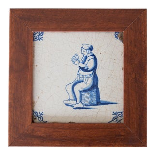 Antique 18th Century Dutch Delft Framed Tile With Figure For Sale