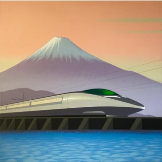 Lynn Curlee Japanese Bullet Train and Mt. Fuji Original Painting For Sale