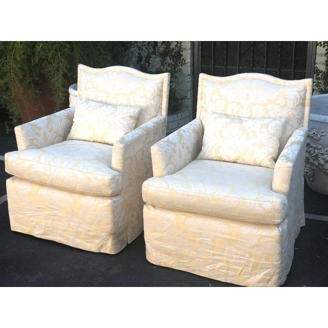 93eff0cc52844 Pair of Designer Fully Upholstered Club Chairs W Swivel Base For Sale -  Image 4 of