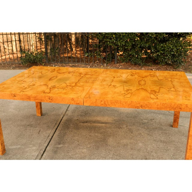 Magnificent Restored Butterfly Patterned Olivewood Dining Table by Milo Baughman for Directional For Sale - Image 10 of 11