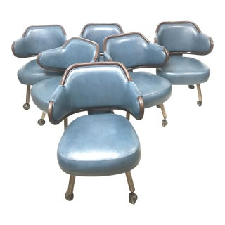 Mid Century Blue Leather Klemens Gasser Dining Office Chairs- Set of 6 For Sale