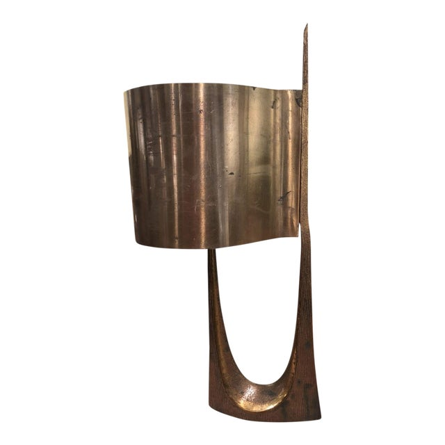 Maison Charles Stamped Vintage Gold Bronze Lamp For Sale