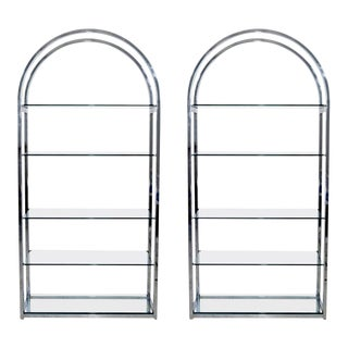 Mid-Century Modern Pair of Tall Curved Chrome Glass Etagere Shelving Baughman - A Pair For Sale