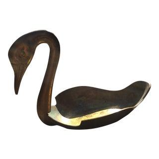 Vintage Mid-Century Brass Swan Dish