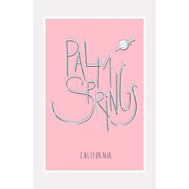 """Mid-Century Modern Original """"Palm Springs"""" Typography Framed Print For Sale - Image 3 of 3"""