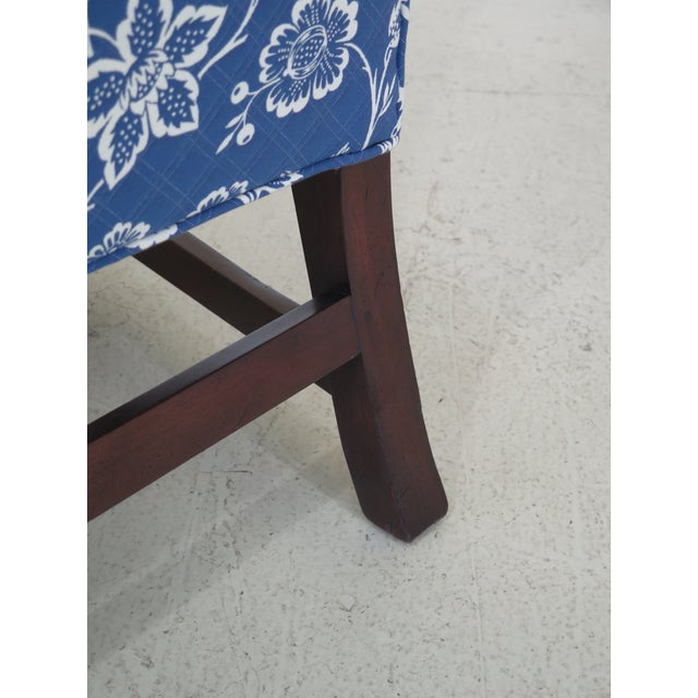 Blue Kittinger Cw-12 Colonial Williamsburg Blue Upholstered Mahogany Wing Chair For Sale - Image 8 of 13